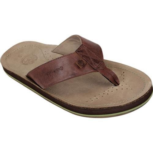 Men's Ocean Minded by Crocs Scorpion Leather Flip-Flop Khaki/Espresso