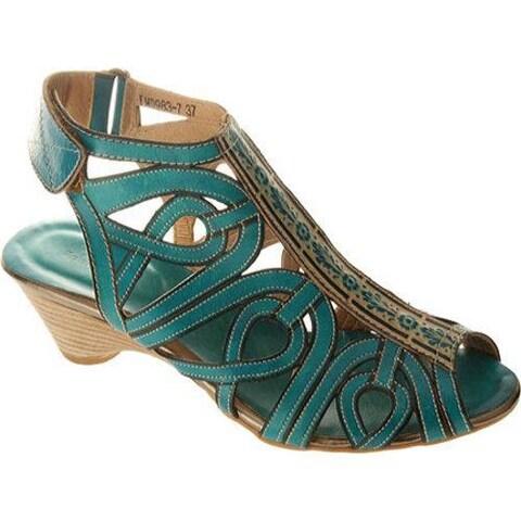 Women's Spring Step Flourish Turquoise Leather