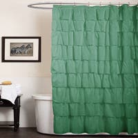 The Gray Barn Dogwood Green Ruffled Shower Curtain