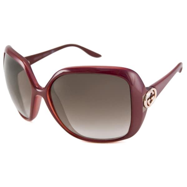Gucci Women's GG3167 Rectangular Burgundy Sunglasses
