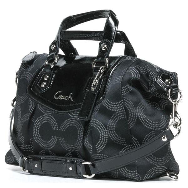2999e89381698 Shop Coach  Ashley  Black Dotted OP Satchel Bag - Free Shipping ...