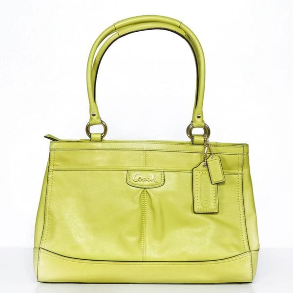 Coach 'Park' Chartreuse Leather Carryall Bag