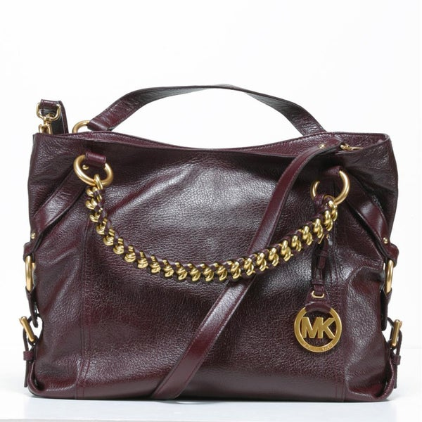Michael Kors X27 Tristan Large Bordeaux Leather Tote Bag