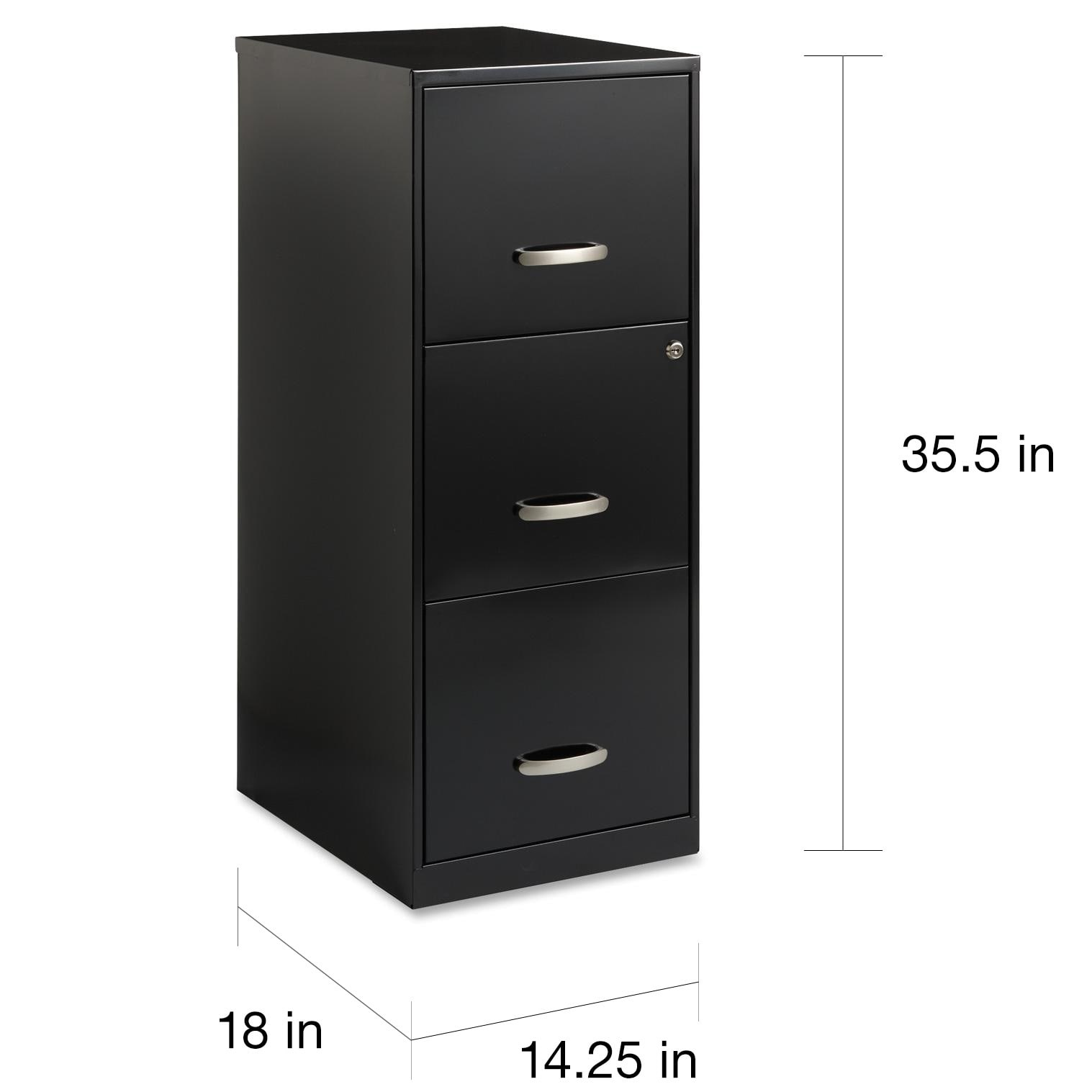 Space Solutions 3 Drawer Black Steel File Cabinet