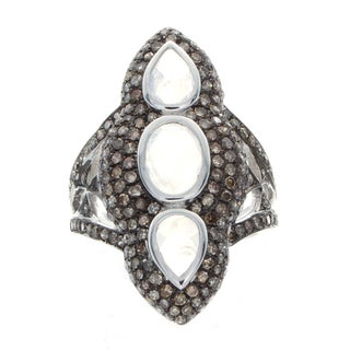 Sterling Silver Moonstone and 1 1/2ct TDW Brown Diamond Ring