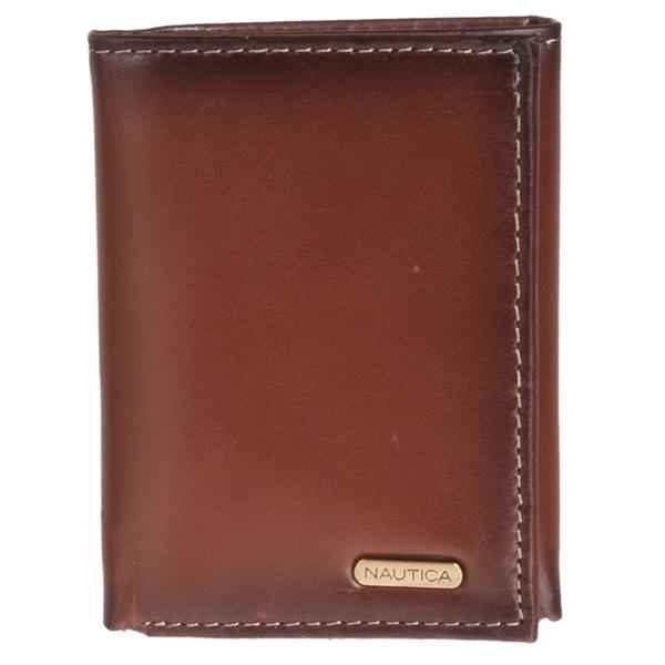 Nautica Men's Tri-fold Tan Leather Wallet