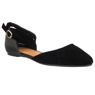 Riverberry Women's 'Object' Microsuede Ankle-strap Flats