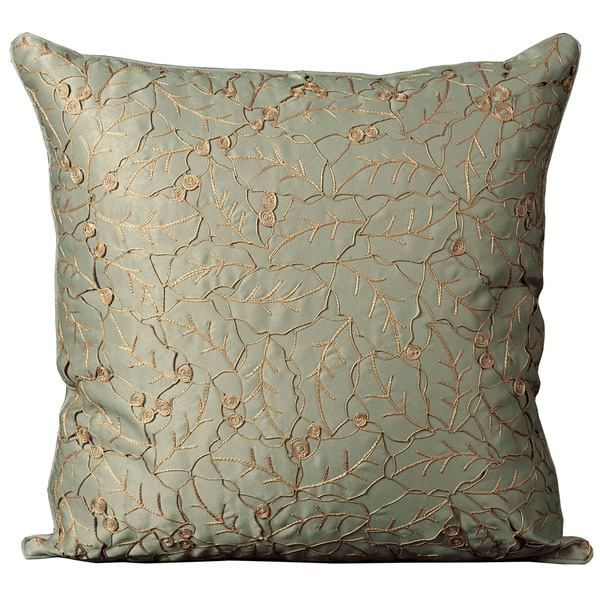 Mina Victory Crochet Leaves Sage Throw Pillow (20-inch x 20-inch) by Nourison