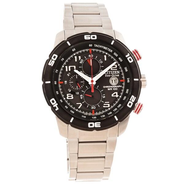 Citizen Men's 'Eco-Drive' Primo Red/ Black Chronograph Watch