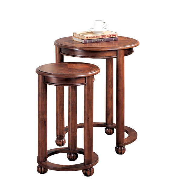 Coaster Company Medium Cherry Burl Inlay Nesting Tables (Set Of 2)
