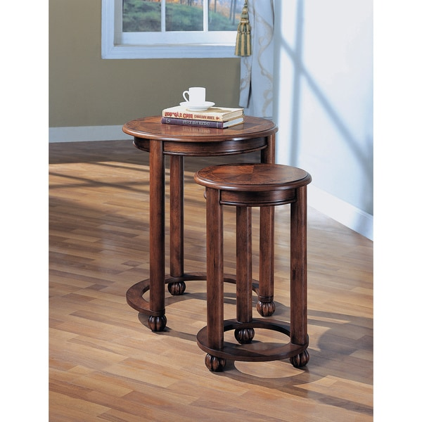 Coaster Company Medium Cherry Burl Inlay Nesting Tables (Set Of 2)   Free  Shipping Today   Overstock.com   15315940
