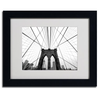 Horizontal Nina Papiorek 'NYC Brooklyn Bridge' Framed Matted Art