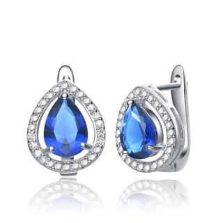 Collette Z Sterling Silver Pear-cut Blue Cubic Zirconia Earrings