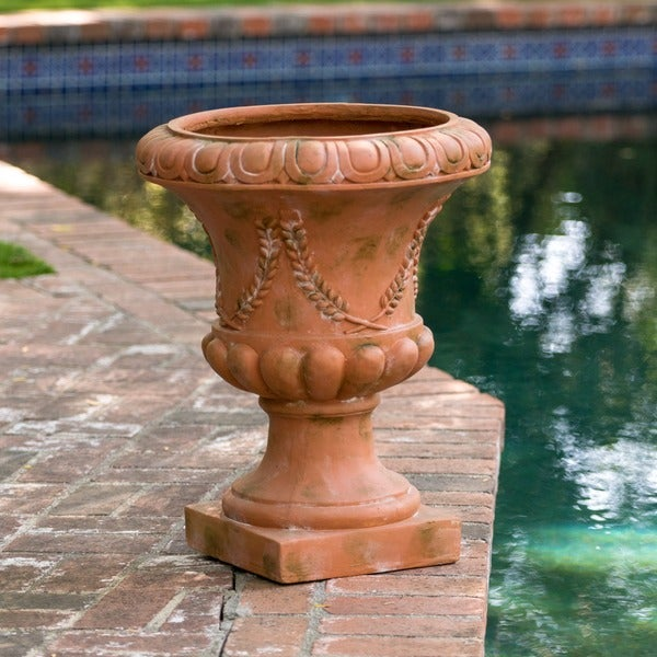 22-inch Green with Moss Athenian Urn Planter by Christopher Knight Home
