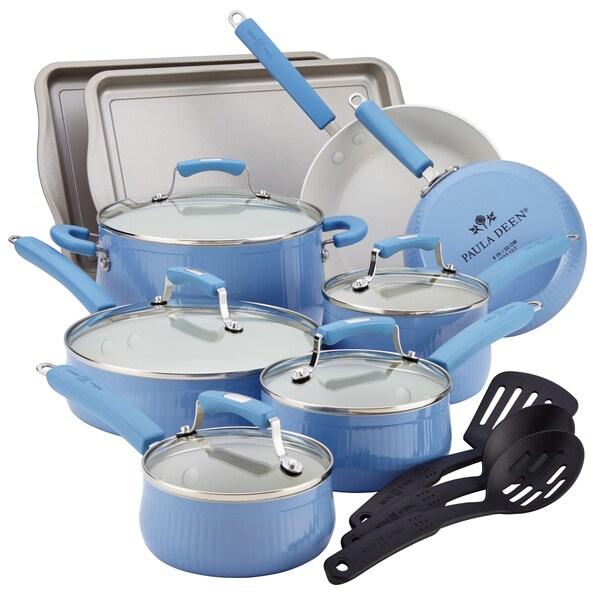 Paula Deen Savannah Collection Aluminum 17-piece Blueberry Cookware Set with Bakeware
