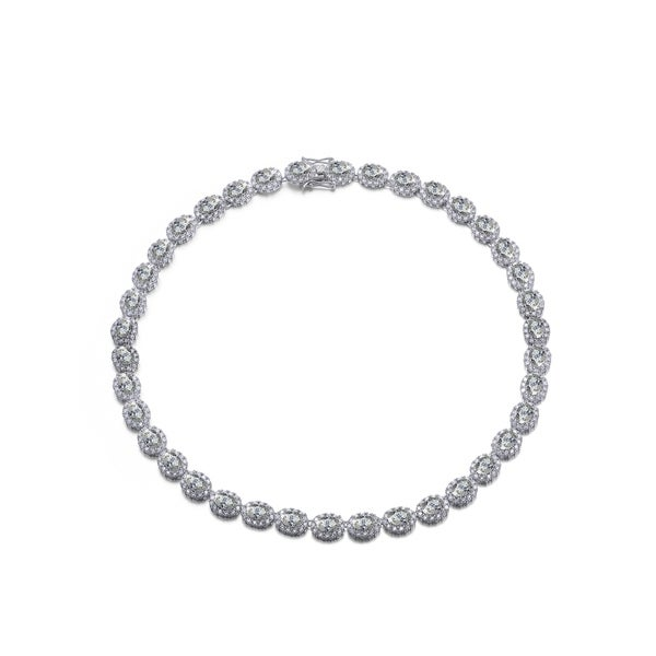Collette Z Sterling Silver with Rhodium Plated Clear Oval with Round Cubic Zirconia Halo Tennis Necklace. Opens flyout.