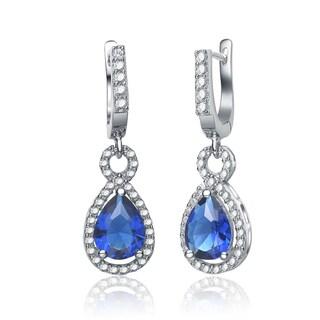 Collette Z Sterling Silver Pear-cut Blue Cubic Zirconia Drop Earrings
