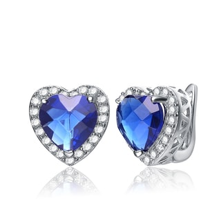 Collette Z Sterling Silver Heart-cut Blue Cubic Zirconia Earrings