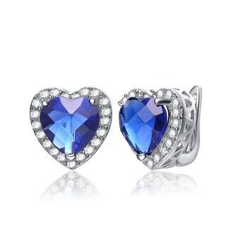 Collette Z Sterling Silver Heart-cut Blue Cubic Zirconia Earrings