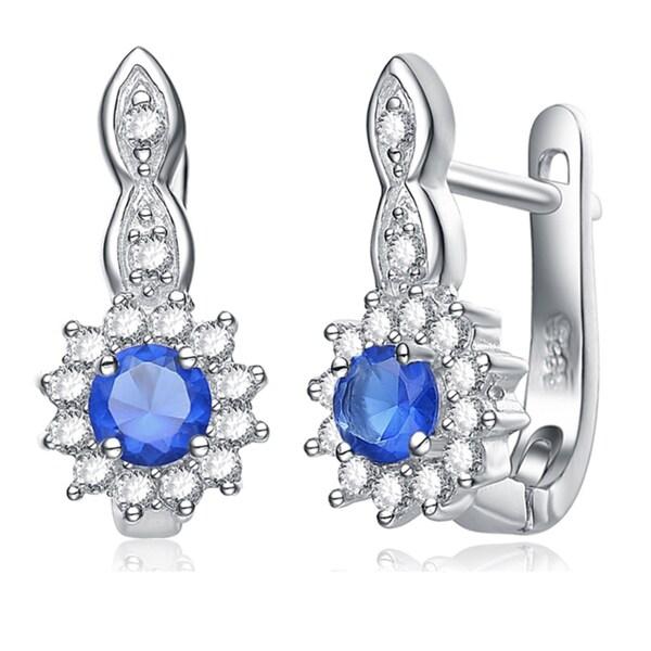Collette Z Sterling Silver Blue Cubic Zirconia Flower Drop Earrings