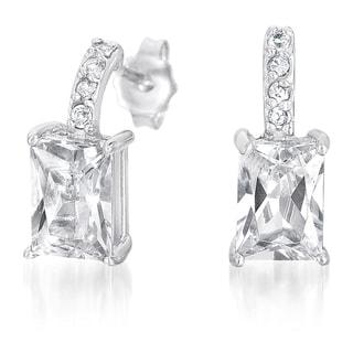 Collette Z Sterling Silver Cubic Zirconia Asscher Drop Earrings