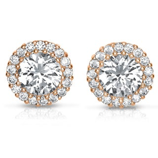 Collette Z Rose Goldplated or Sterling Silver Cubic Zirconia Round Earrings (Option: Rose)