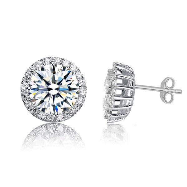 Collette Z Rose Goldplated or Sterling Silver Cubic Zirconia Round Earrings