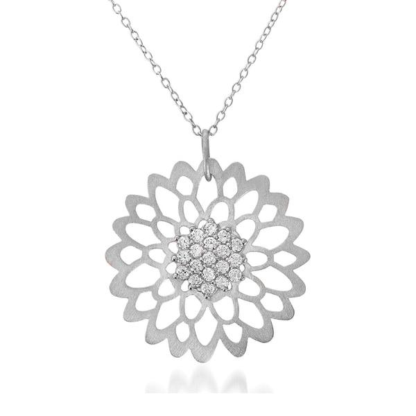 Collette Z Sterling Silver Matte Flower Lace Necklace