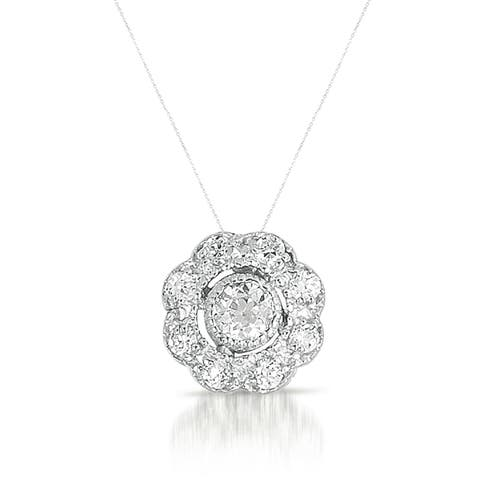 Collette Z Sterling Silver Cubic Zirconia Round Flower Necklace