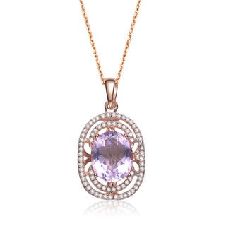 Collette Z Rose-plated Sterling Silver Purple Cubic Zirconia Oval Necklace