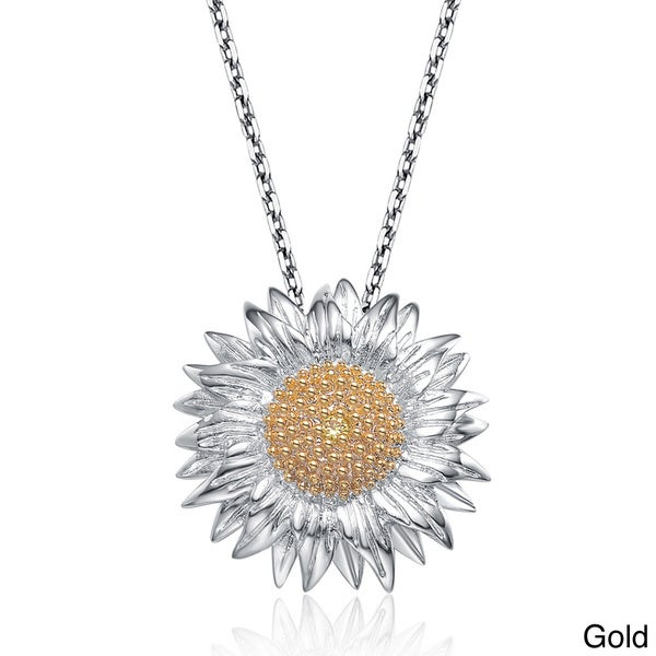 Collette Z Sterling Silver Cubic Zirconia Sunflower Necklace