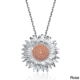 Collette Z Sterling Silver Cubic Zirconia Sunflower Necklace (2 options available)