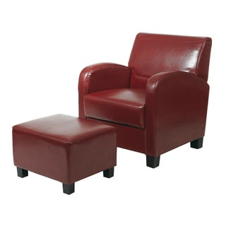 Metro Faux Leather Chair And Ottoman