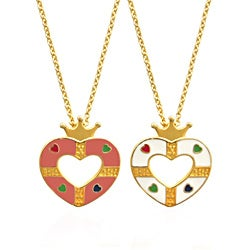 Molly and Emma 18k Gold Overlay Children's Enamel Open Heart Necklace