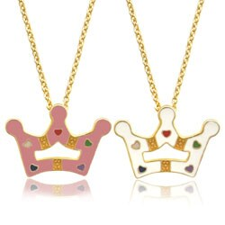 Molly and Emma 18k Gold Overlay Children's Enamel Crown Necklace