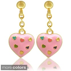 Molly and Emma 18k Gold Overlay Children's Enamel Heart Earrings