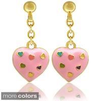 Molly and Emma 18k Gold Overlay Children's Enamel Heart Earrings