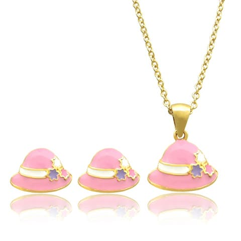Molly and Emma 18k Gold Overlay Children's Pink Enamel Hat Jewelry Set