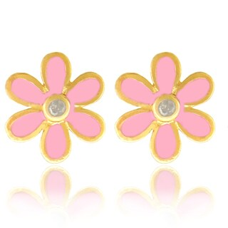 Molly and Emma 18k Gold Overlay Pink Enamel Diamond Children's Flower Earrings