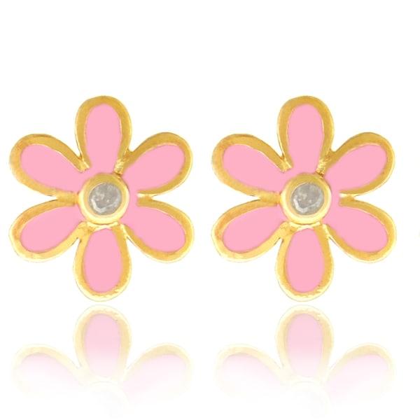 Molly And Emma 18k Gold Overlay Pink Enamel Diamond Children X27 S Flower Earrings