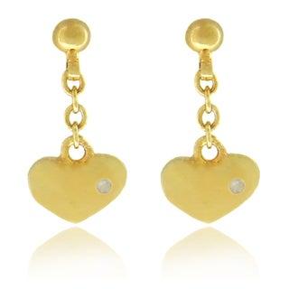 Molly and Emma Children's 18k Gold Overlay Diamond Accent Heart Dangle Earrings