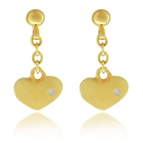Molly and Emma Children's 18k Gold Overlay Diamond Accent Heart Dangle Earrings