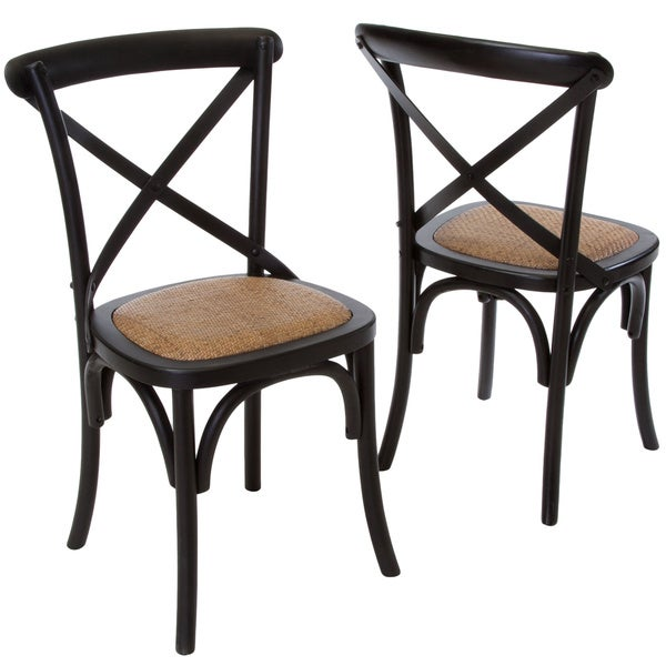 Smith Black Cross-back Dining Chairs (Set of 2) by Christopher Knight Home