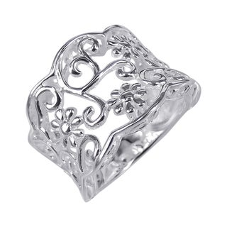 Handmade Sterling Silver Gorgeous Floral Filigree Vines Ring (Thailand)