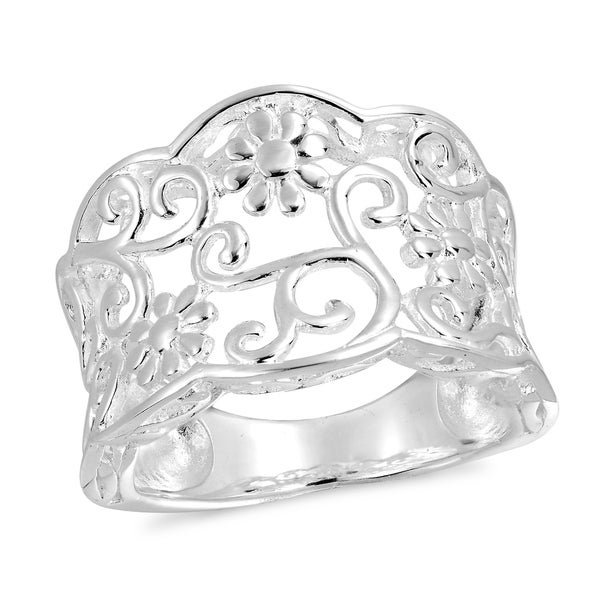 Handmade Sterling Silver Gorgeous Floral Filigree Vine Ring (Thailand)