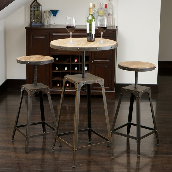 Rutherford Weathered Wood 3-piece Bar Set by Christopher Knight Home