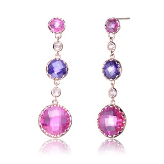 Collette Z Roseplated Sterling Silver Multi Color Cubic Zirconia Drop Earrings