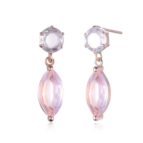 Collette Z Roseplated Sterling Silver Pink Cubic Zirconia Dangling Earrings