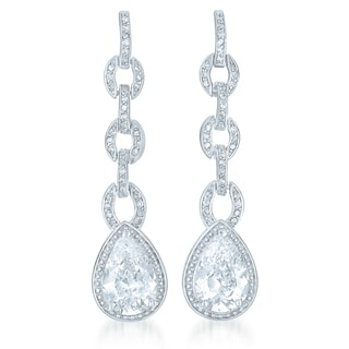 Collette Z Sterling Silver Cubic Zirconia Long Pear Drop Earrings