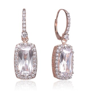 Collette Z Roseplated Sterling Silver Cubic Zirconia Rectangle Earrings